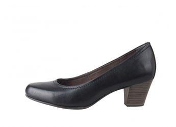 Tamaris dámske pohodlné kožené lodičky - čierne