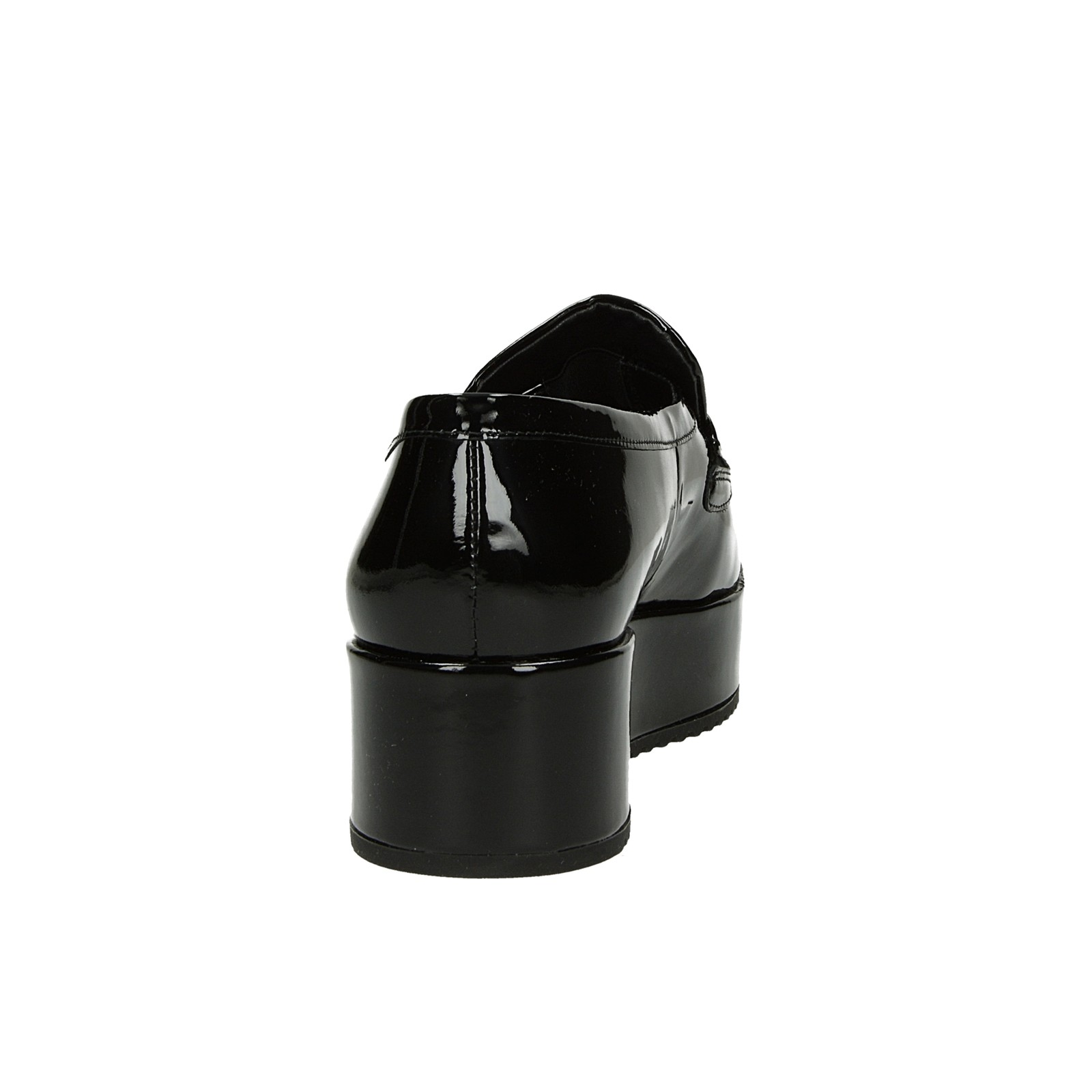 Högl dámske lakované kožené poltopánky - čierne