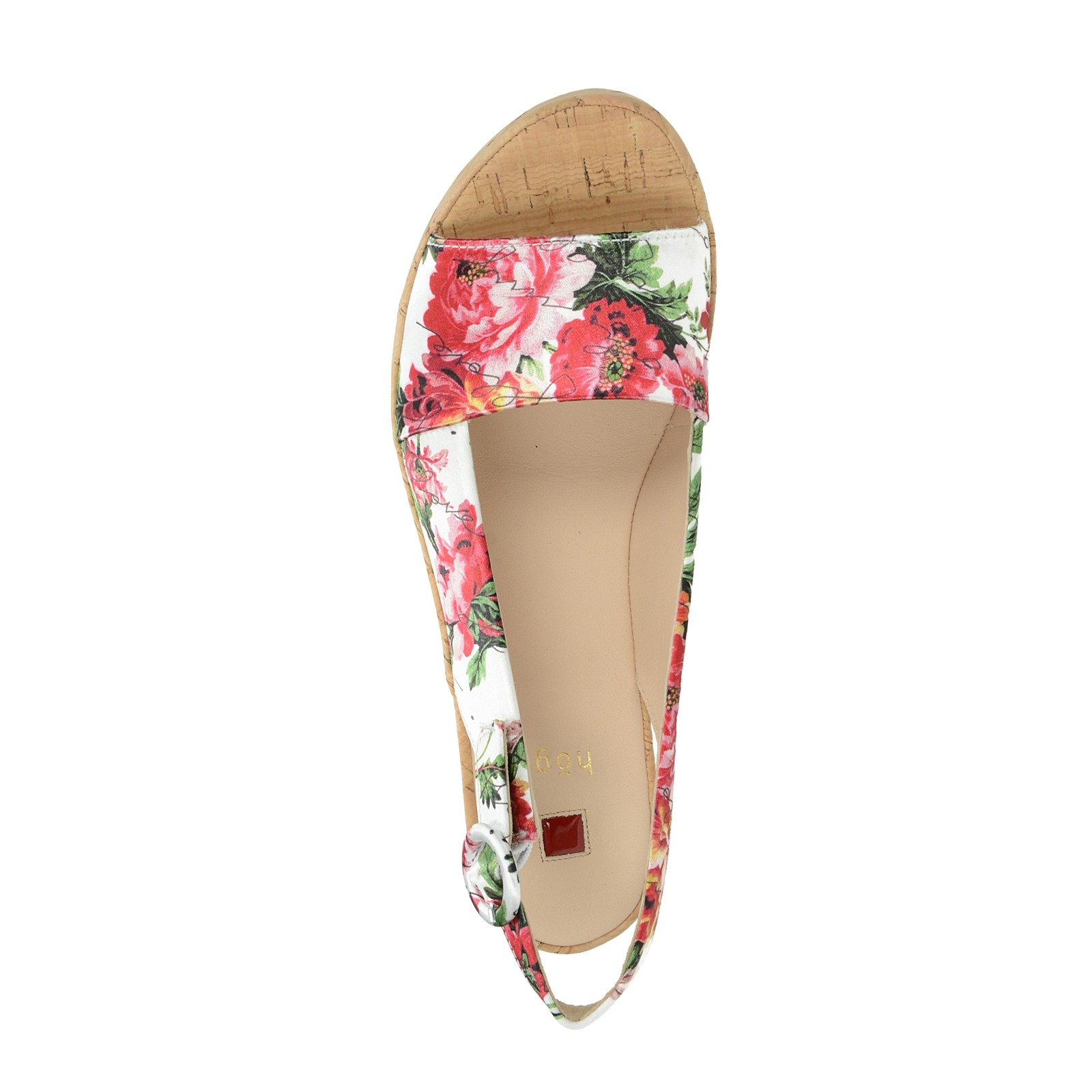 Högl dámske štýlové sandále s kvetovým motívom - multicolor
