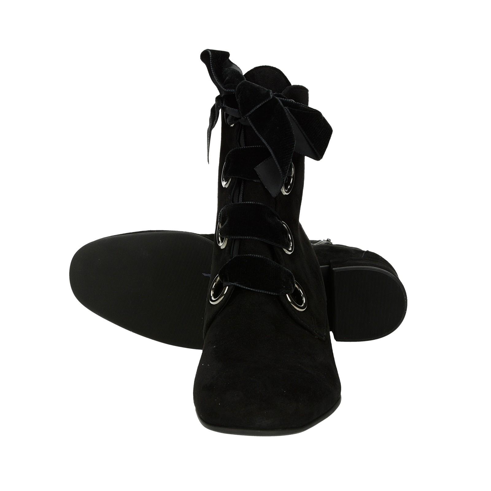 Högl dámske semišové kotníky na zips - čierne