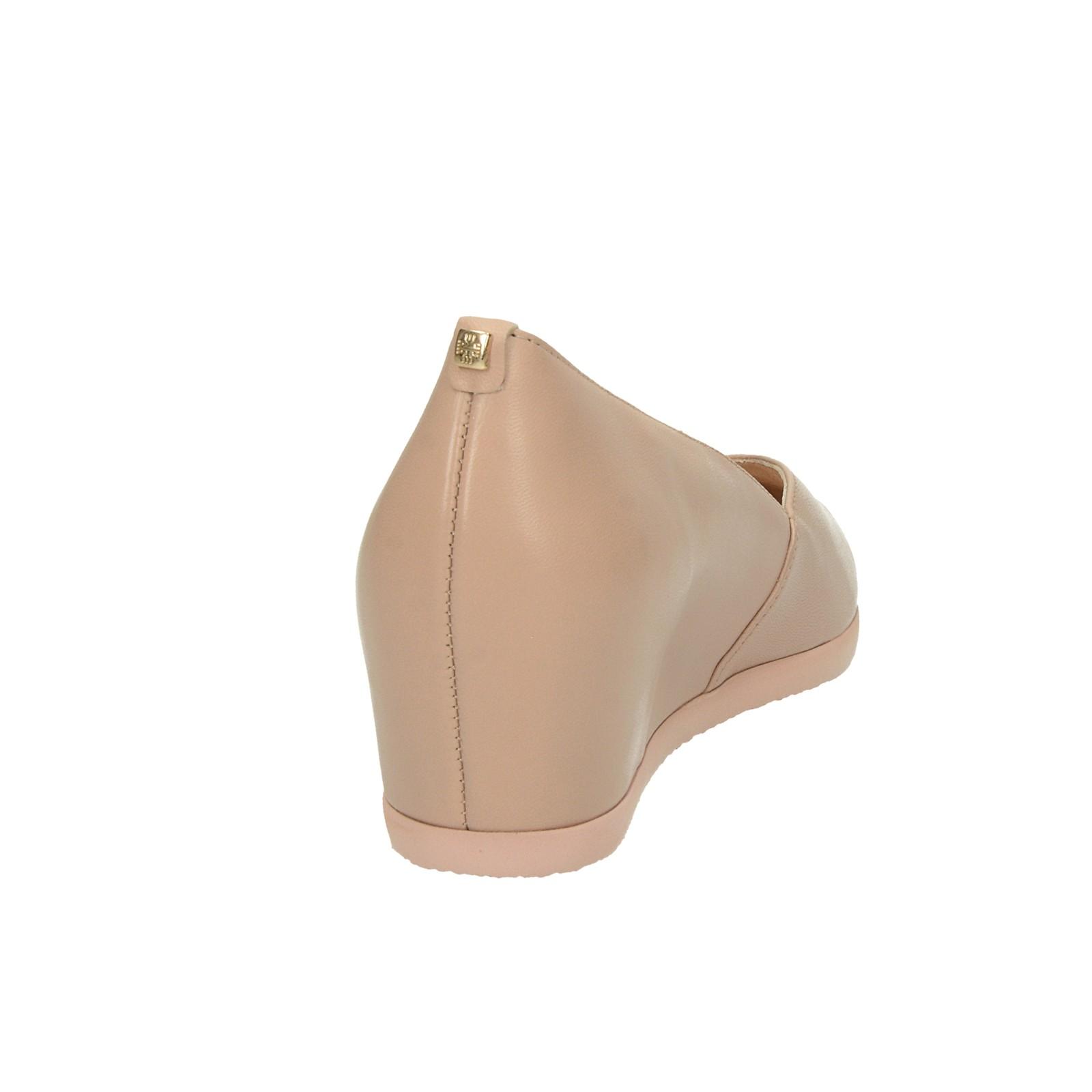 Högl dámske kožené balerínky na klinovej podrážke - béžové