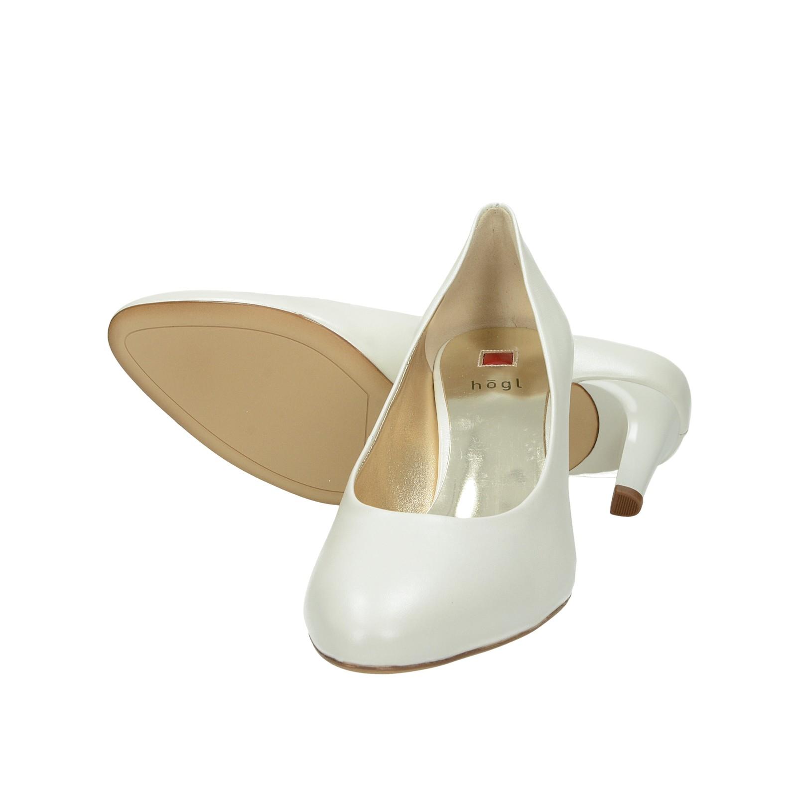 Högl dámske kožené lodičky - biele