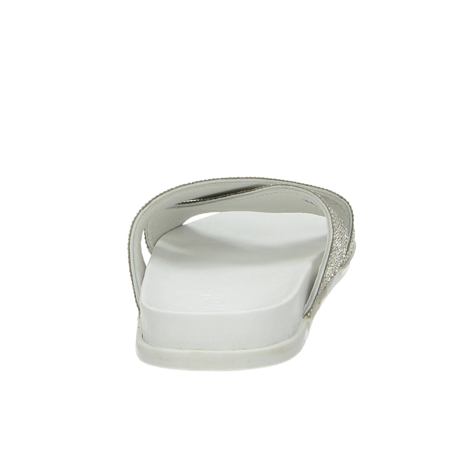 Inuovo dámske elegantné šľapky s ozdobnými kamienkami - biele