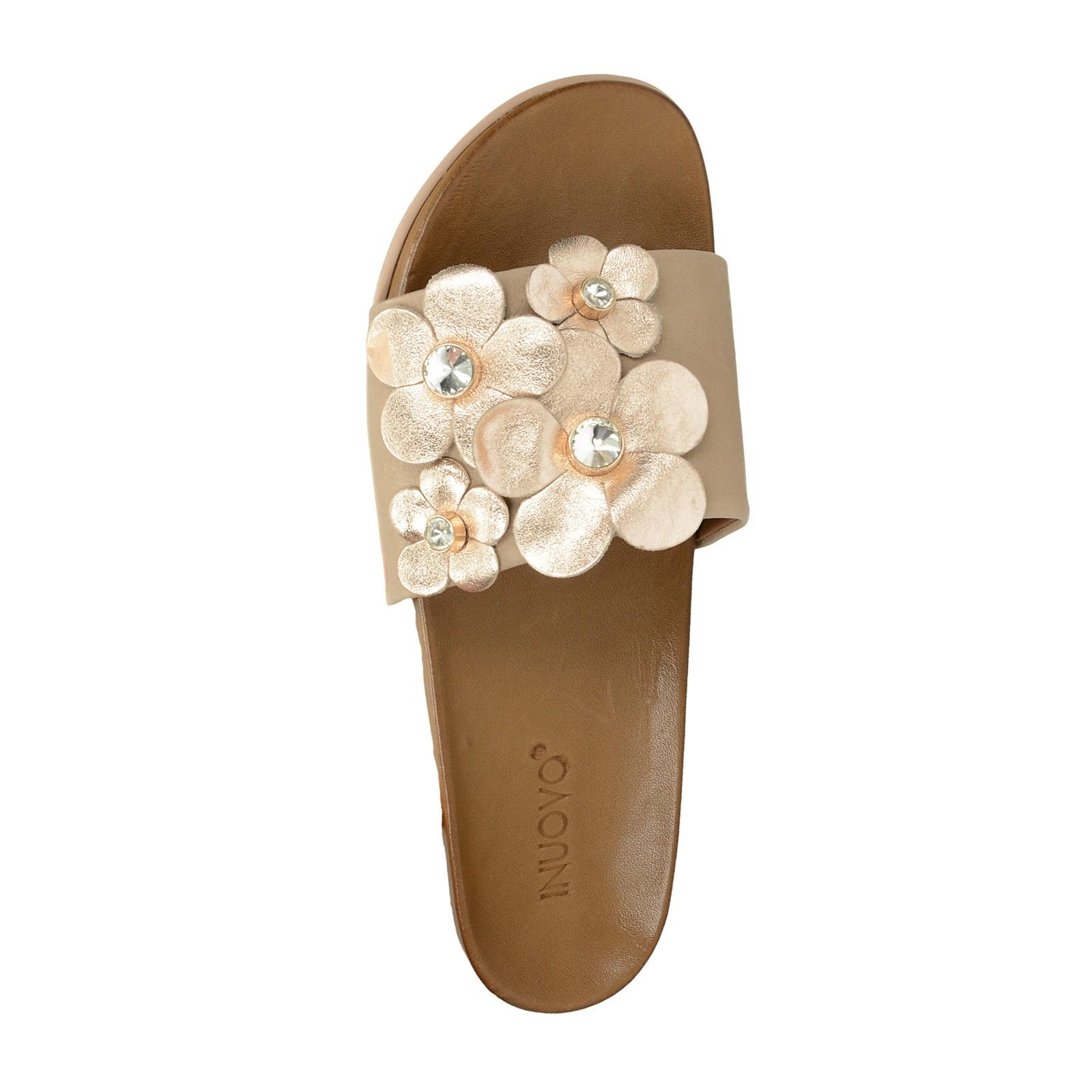 Inuovo dámske štýlové šľapky s ozdobnými kamienkami - béžové