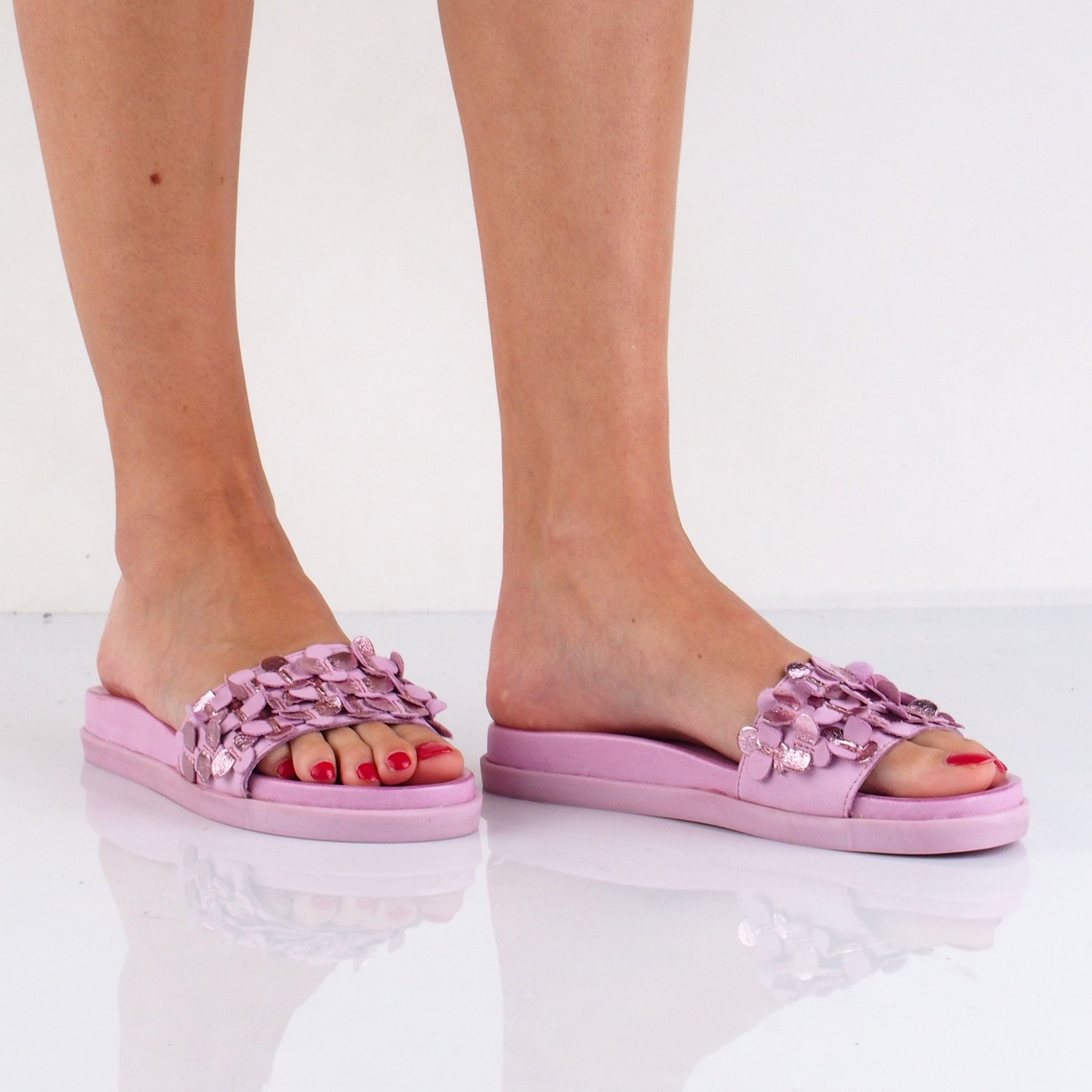 Inuovo dámske kožené štýlové šľapky - ružové