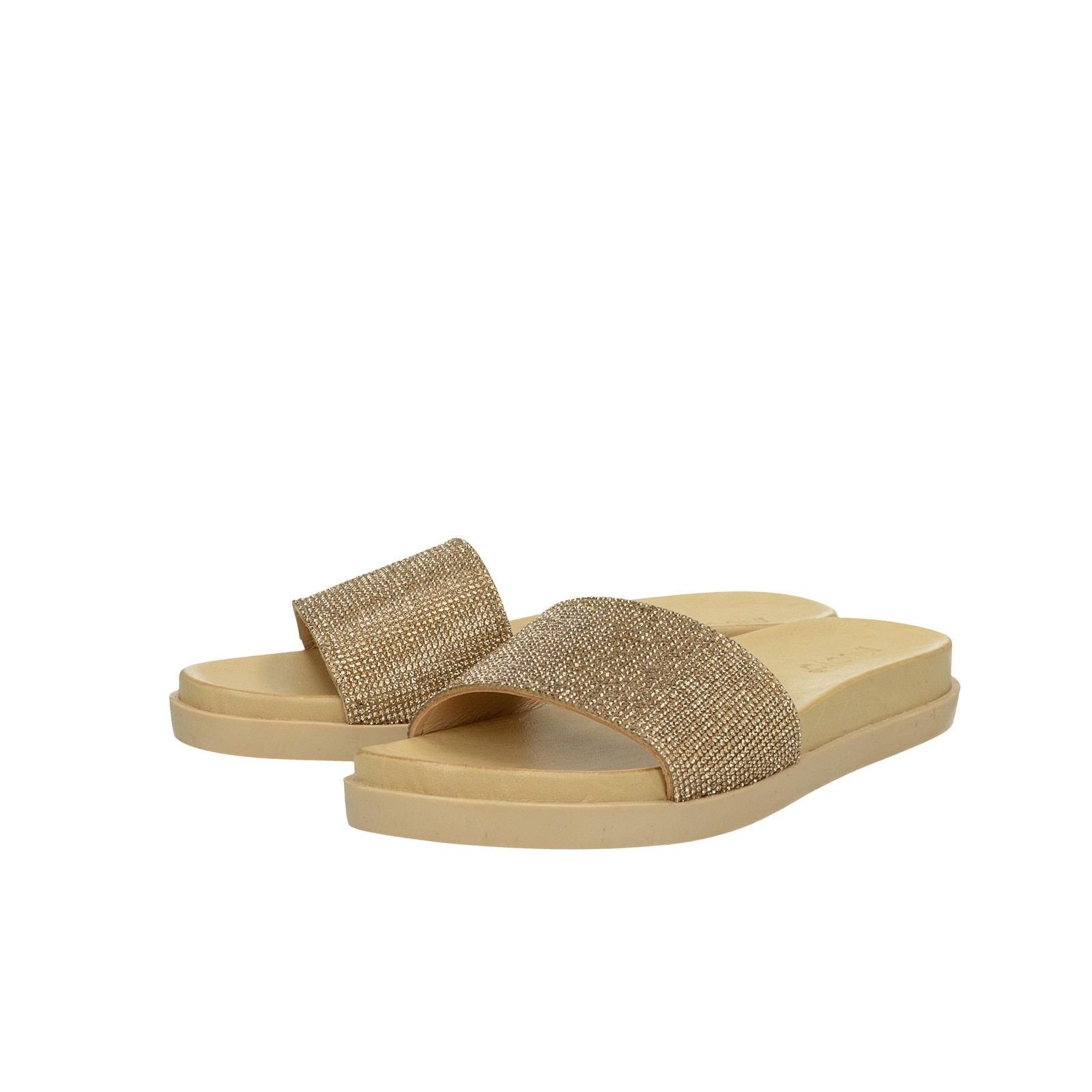 Inuovo dámske elegantné šľapky s ozdobnými kamienkami - zlaté