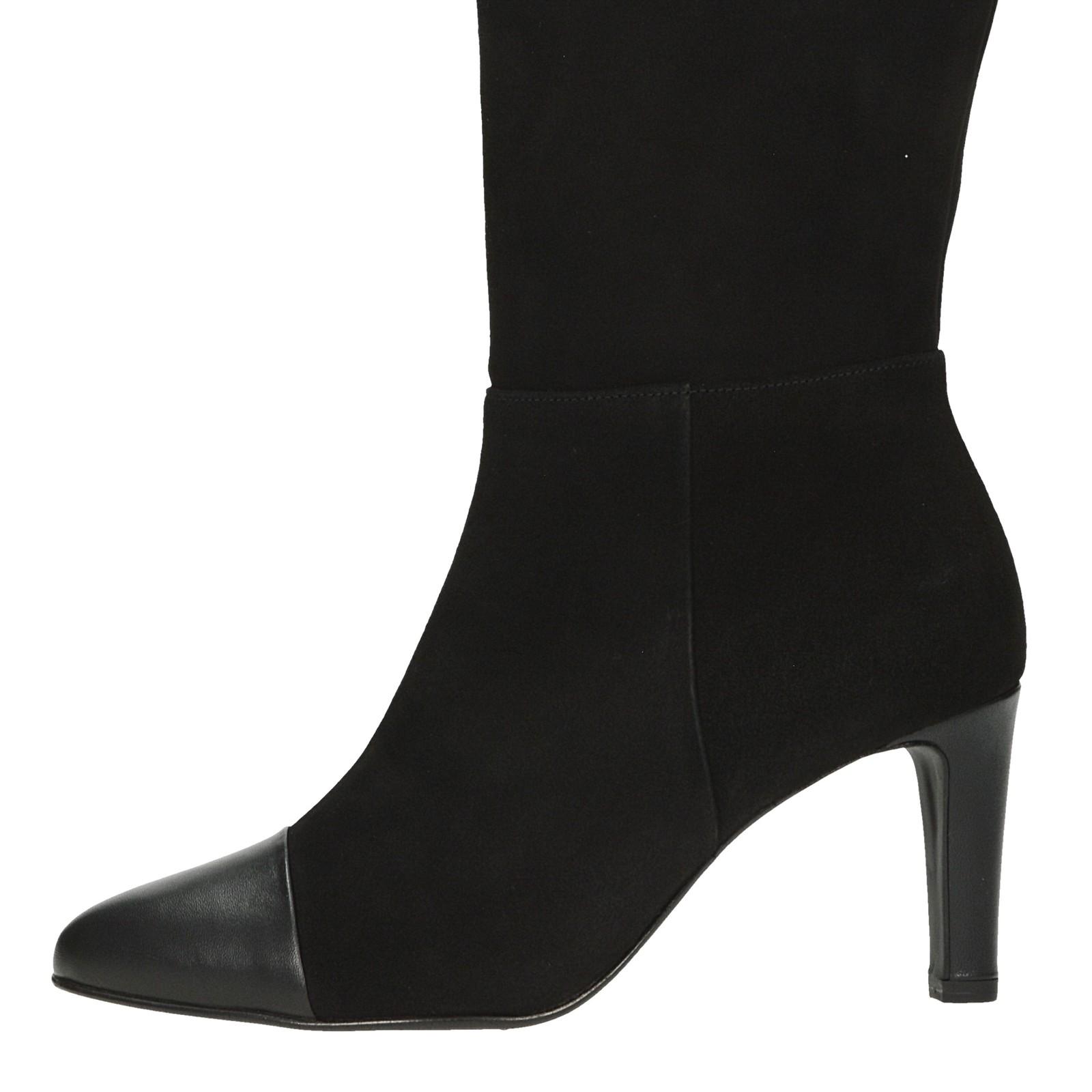 Högl dámske kožené vysoké čižmy - čierne