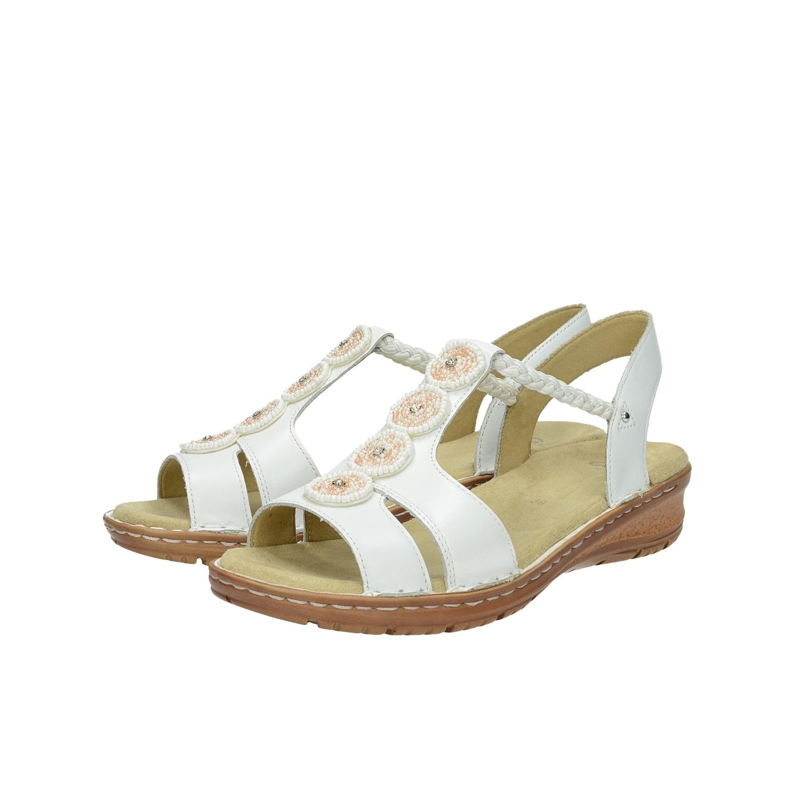 1d0d664e8ae9 Ara dámske kožené sandále s ozdobnými kamienkami - biele ...