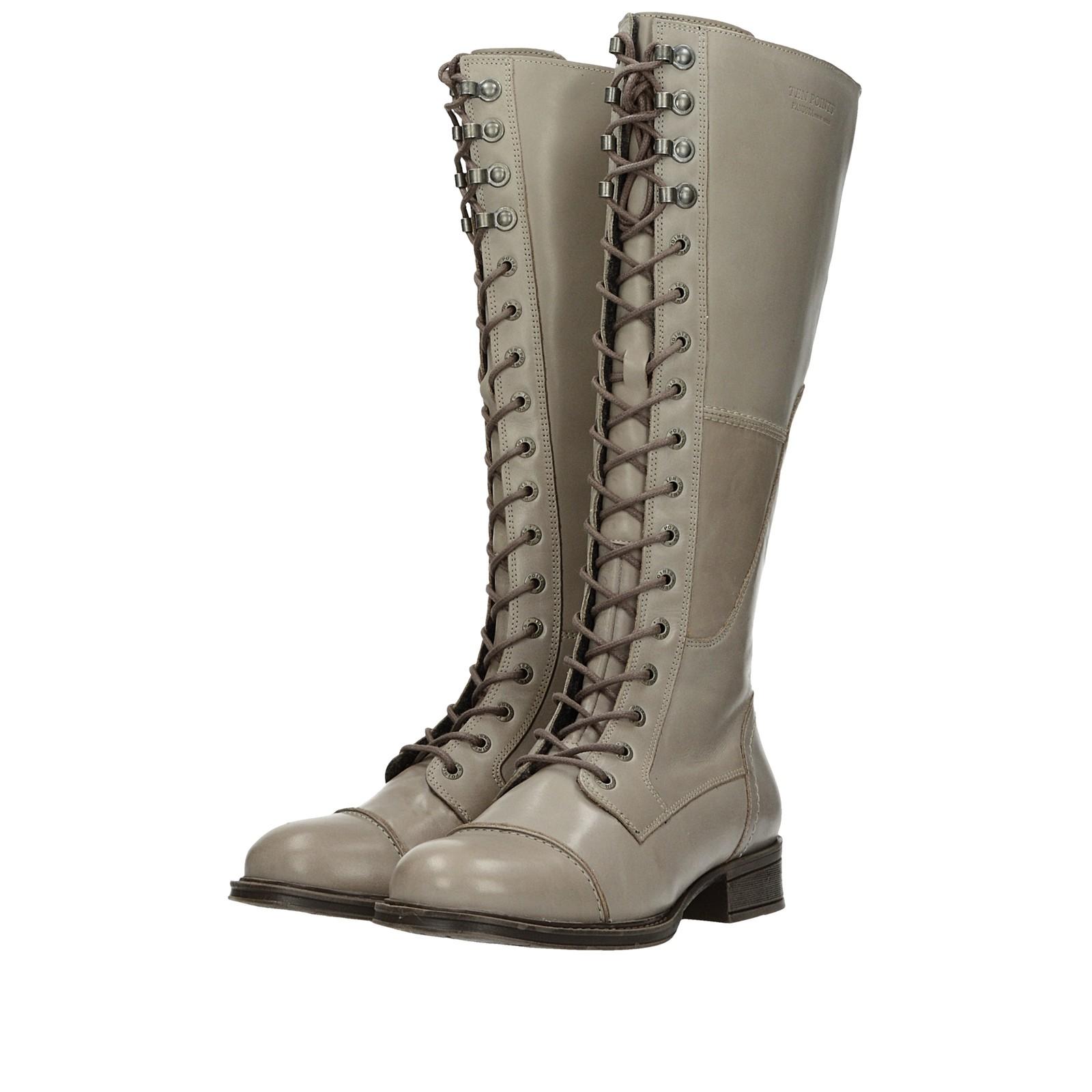 4018d2cfa8f72 Ten Points dámske kožené vysoké čižmy - šedé | 126024-TAUPE www.robel.sk