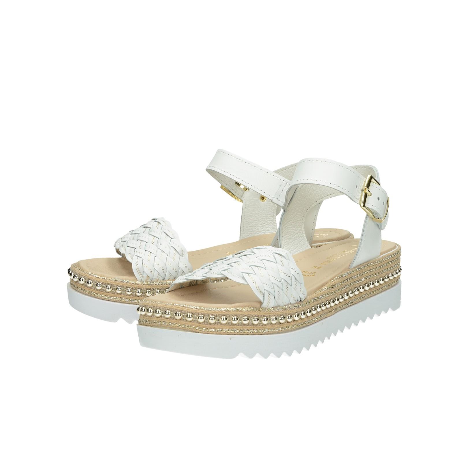620004b4f40cc Prativerdi dámske štýlové kožené sandále na klinovej podrážke - biele ...