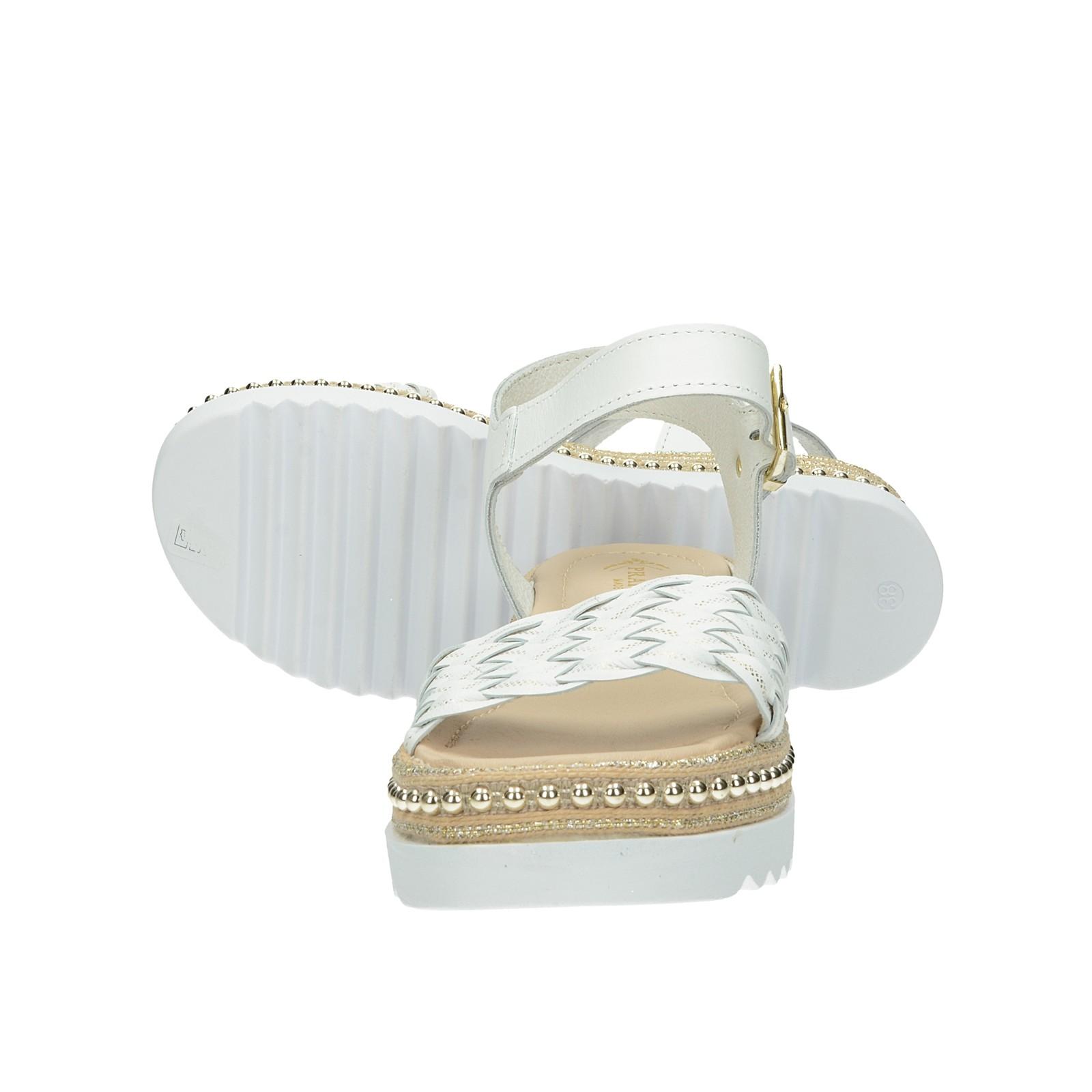 889f47022e069 ... Prativerdi dámske štýlové kožené sandále na klinovej podrážke - biele  ...