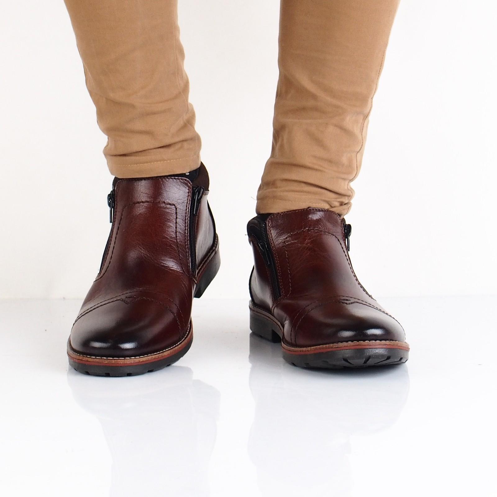 Rieker pánska kožená členková obuv - tmavohnedá