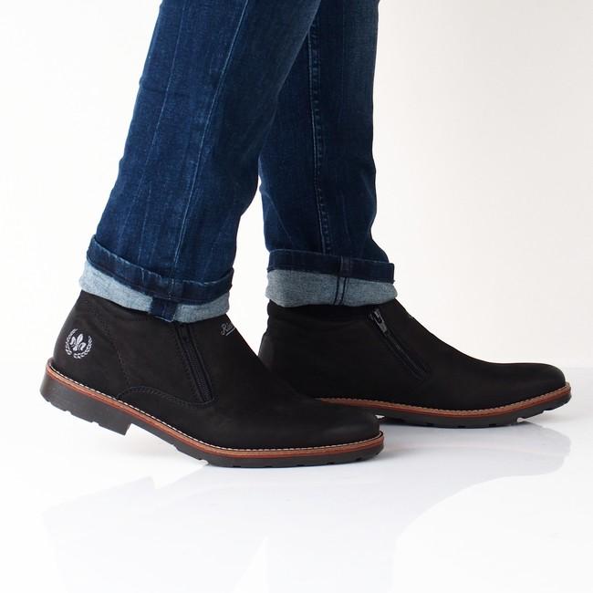 Rieker pánska pohodná členková obuv - čierna