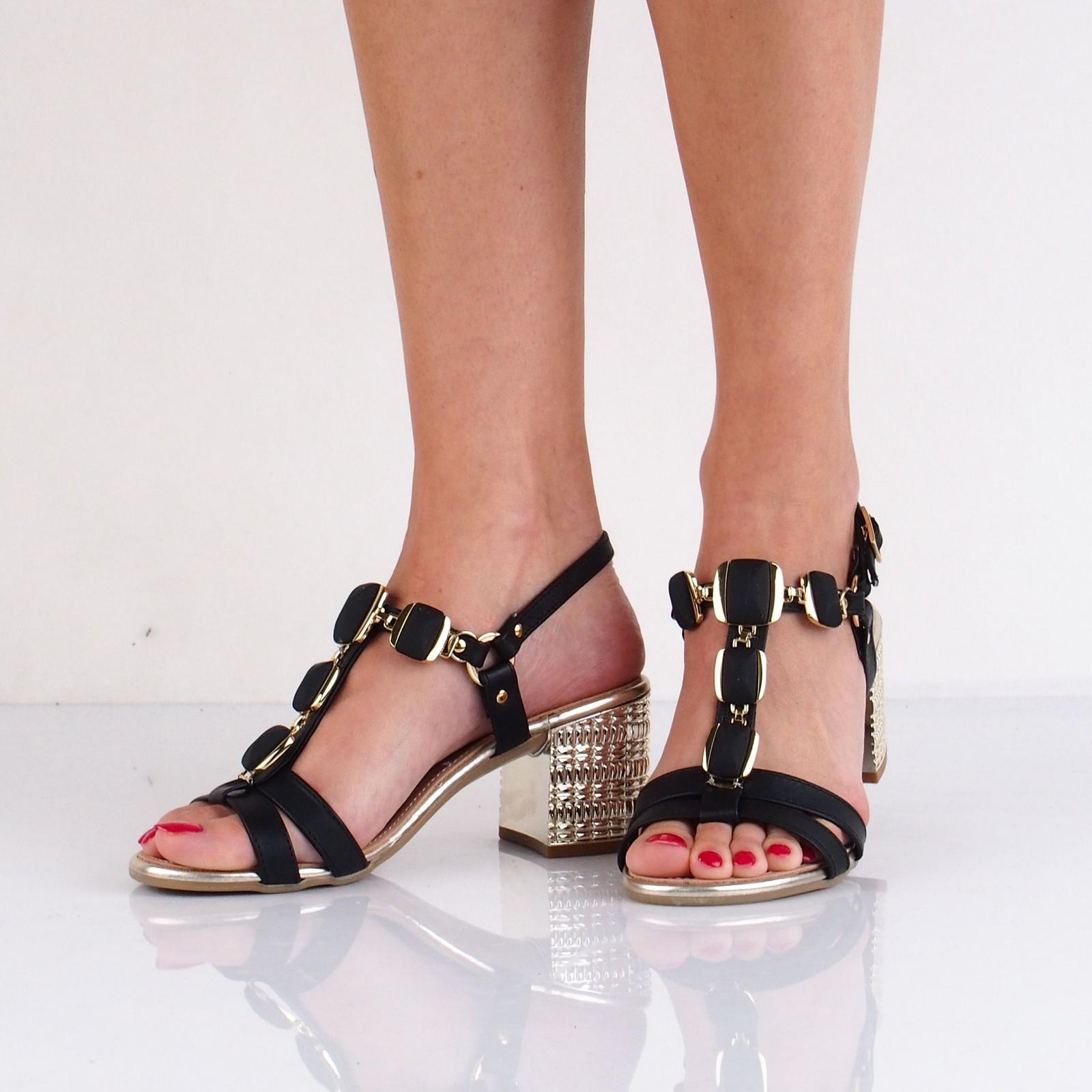 Prativerdi dámske kožené elegantné sandále - čierne