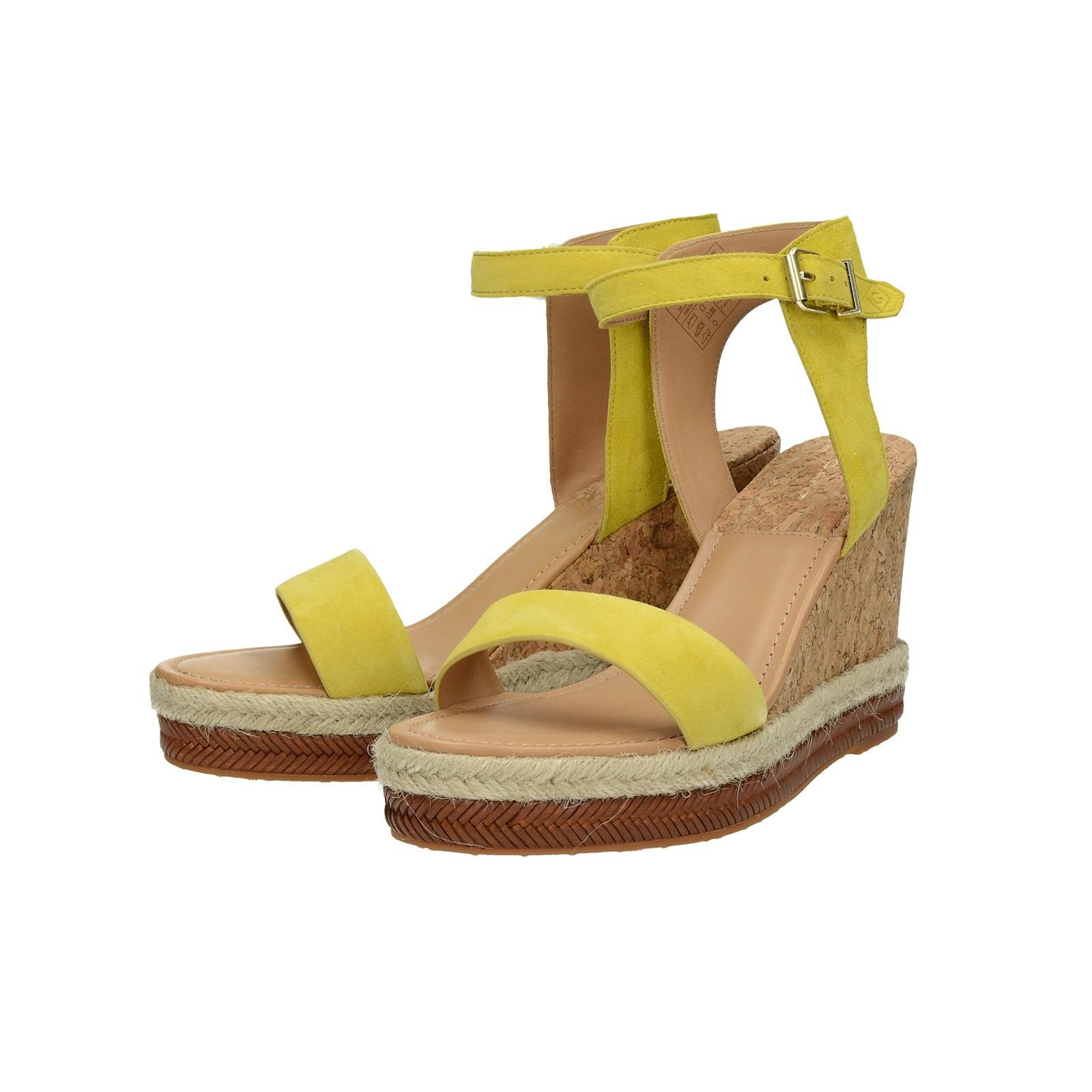 Gant dámske štýlové sandále na klinovej podrážke - žlté