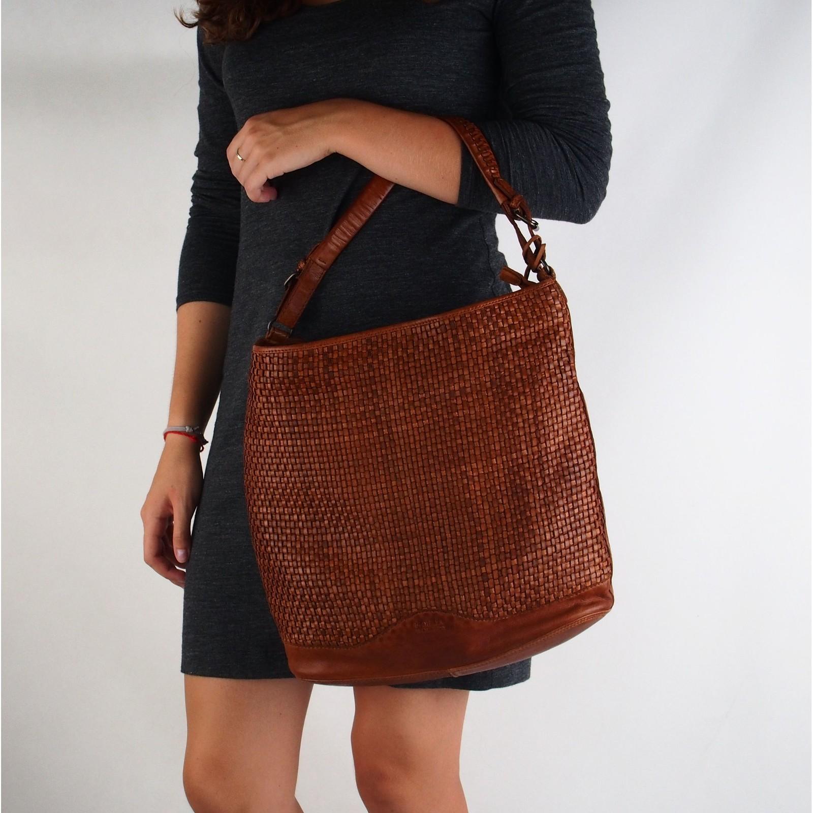 Noelia Bolger dámska kožená kabelka - hnedá