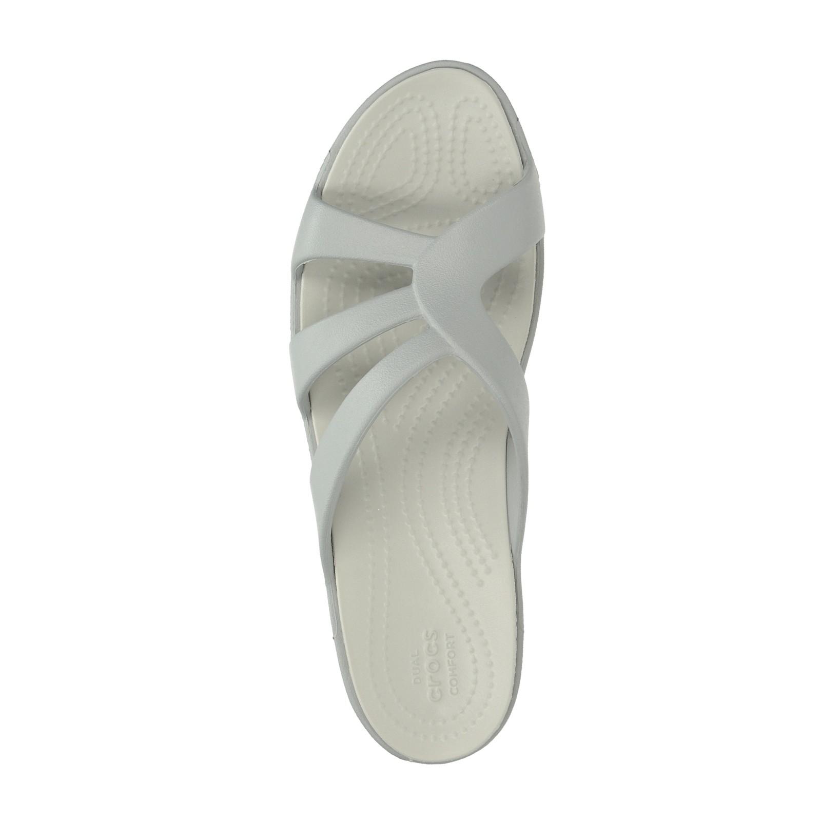 Crocs dámske pohodlné šľapky na klinovej podrážke - šedé