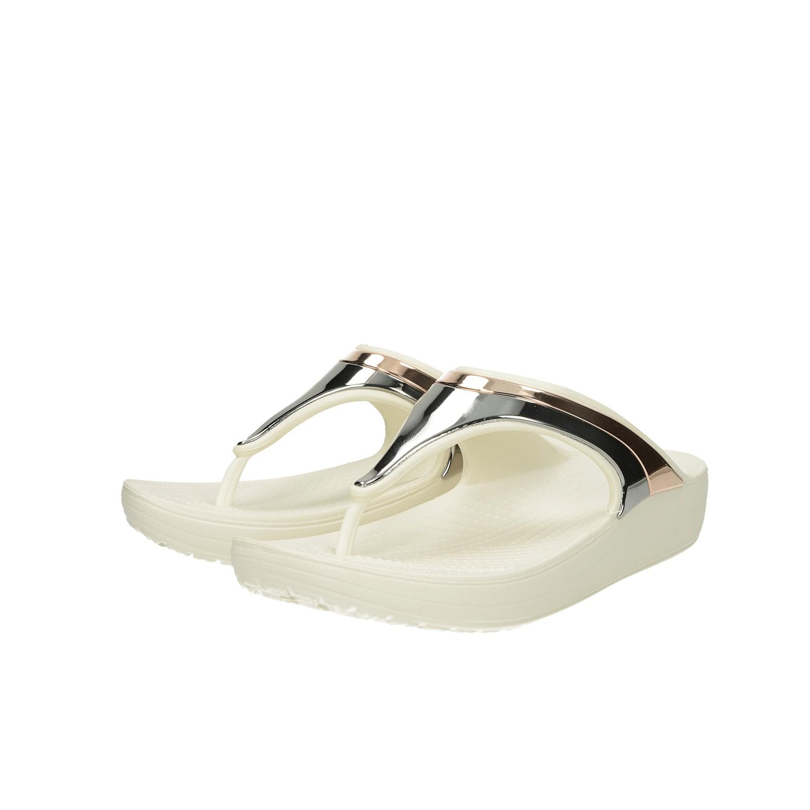 Crocs dámske štýlové plážovky na klinovej podrážke - biele