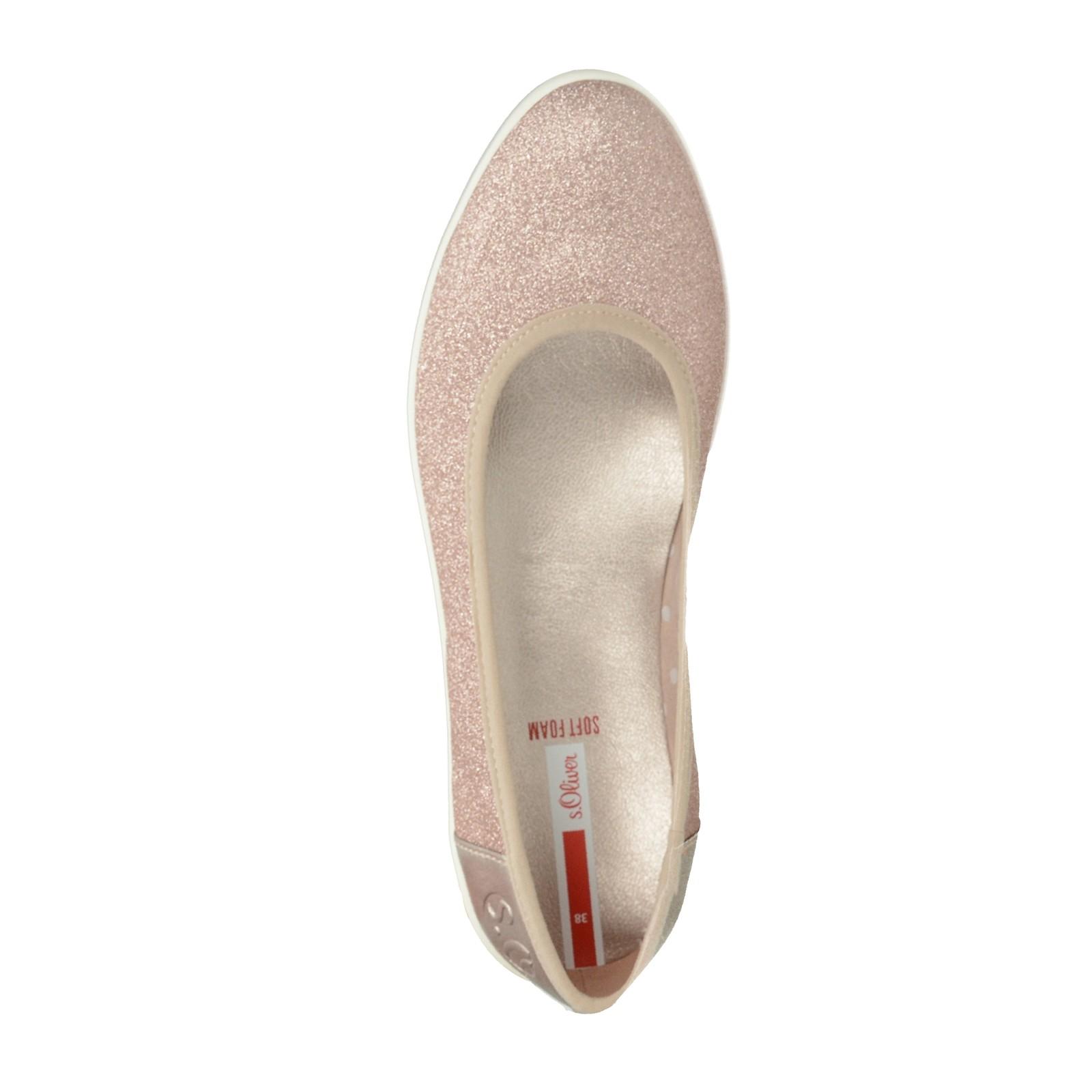 S.Oliver dámske štýlové trblietavé balerínky - ružové