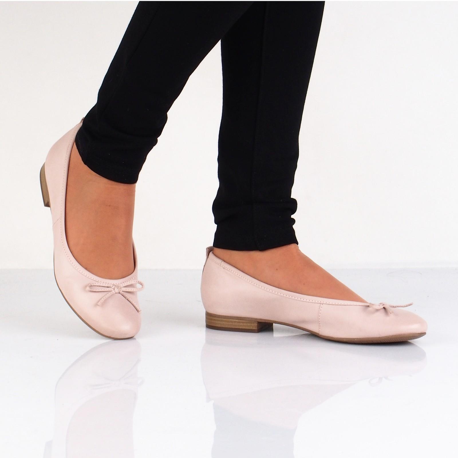 Tamaris dámske kožené balerínky - ružové