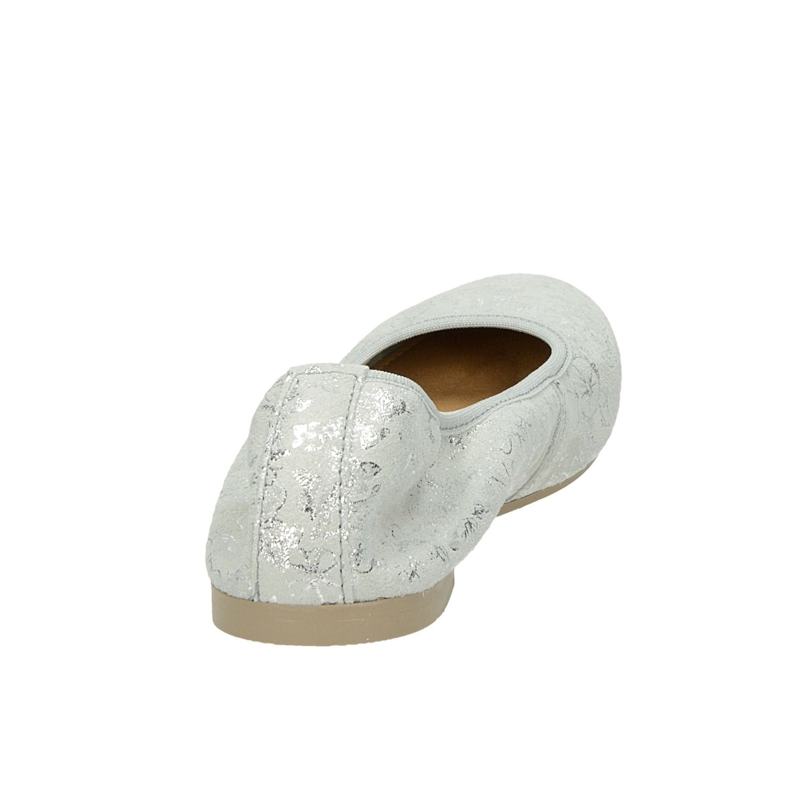 Tamaris dámske štýlové semišové balerínky - strieborné