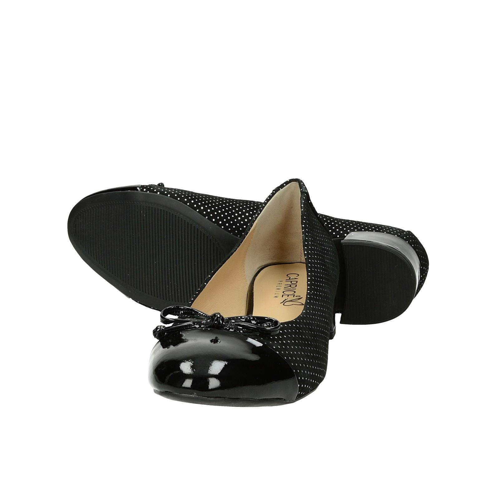 Caprice dámske štýlové balerínky s bodkovaným vzorom - čierne