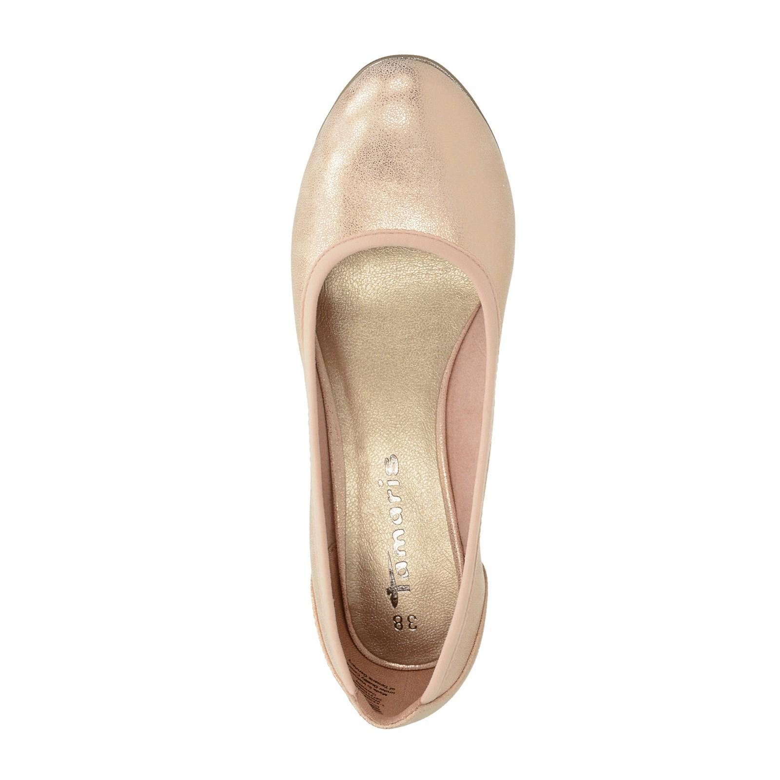 Tamaris dámske balerínky na klinovej podrážke - ružové