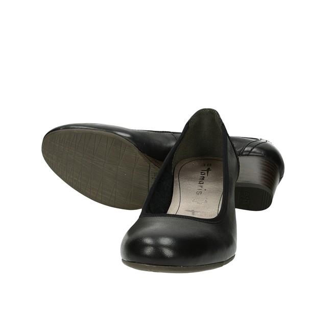 Tamaris dámske kožené balerínky na klinovej podrážke - čierne