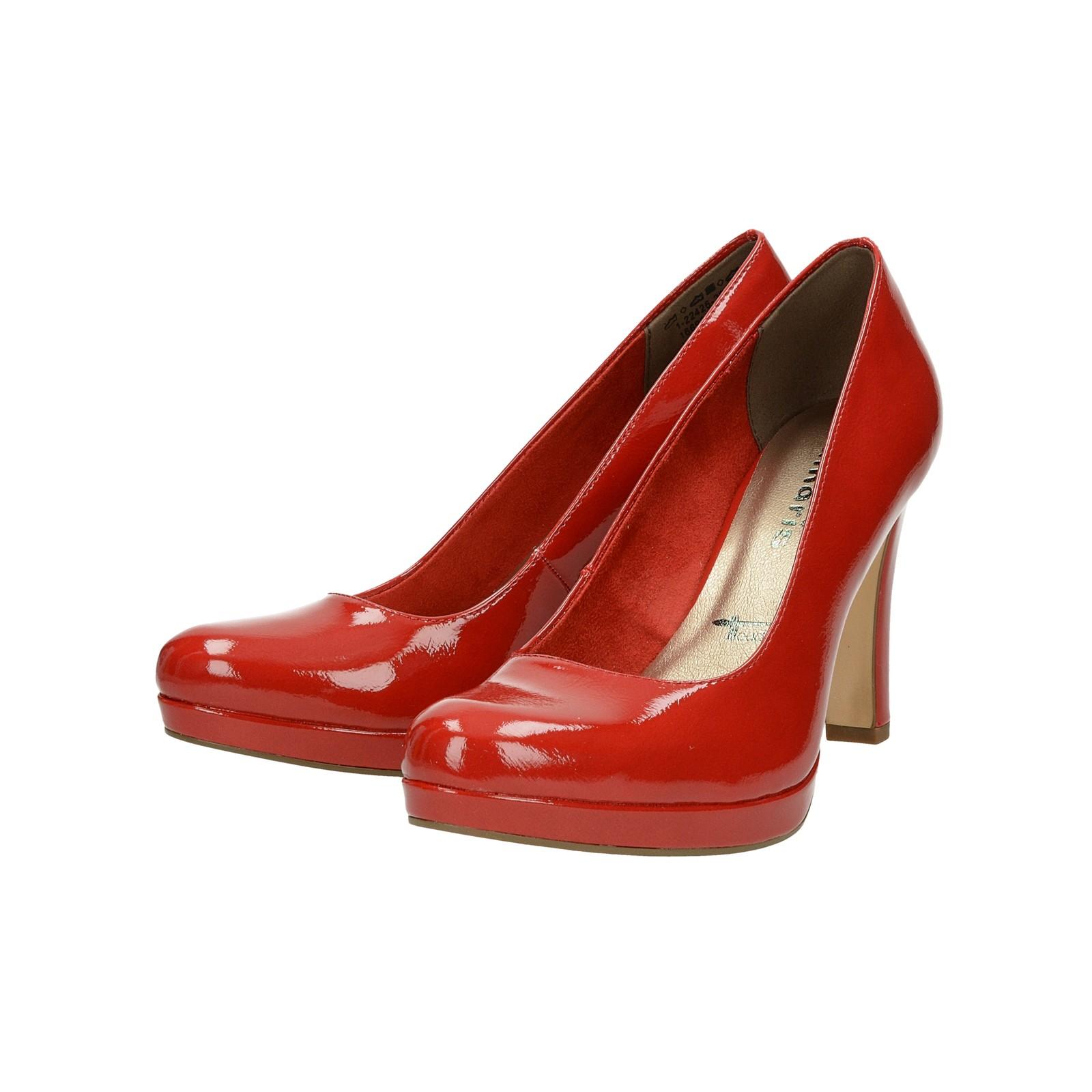 cc9f2531d1 ... Tamaris dámske lakované lodičky - červené ...