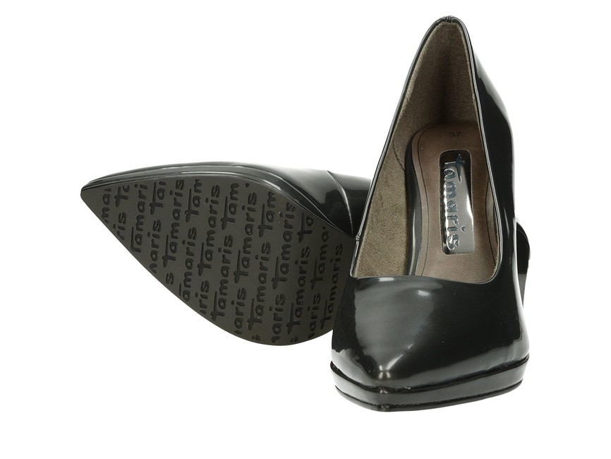 Tamaris dámske lesklé lodičky na vysokom podpätku - šedé