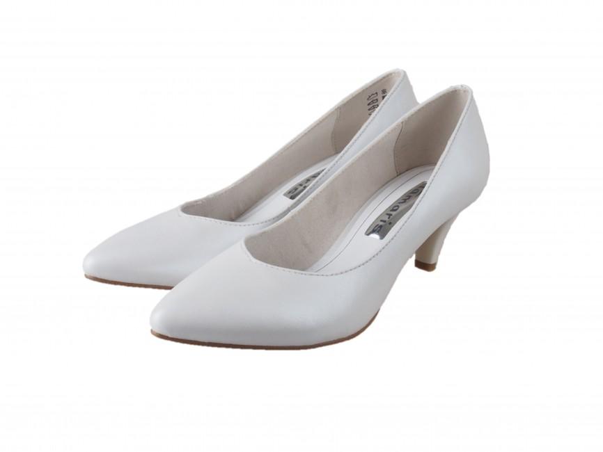 Tamaris dámske lesklé lodičky na nízkom podpätku - biele ... f3d48d01e9