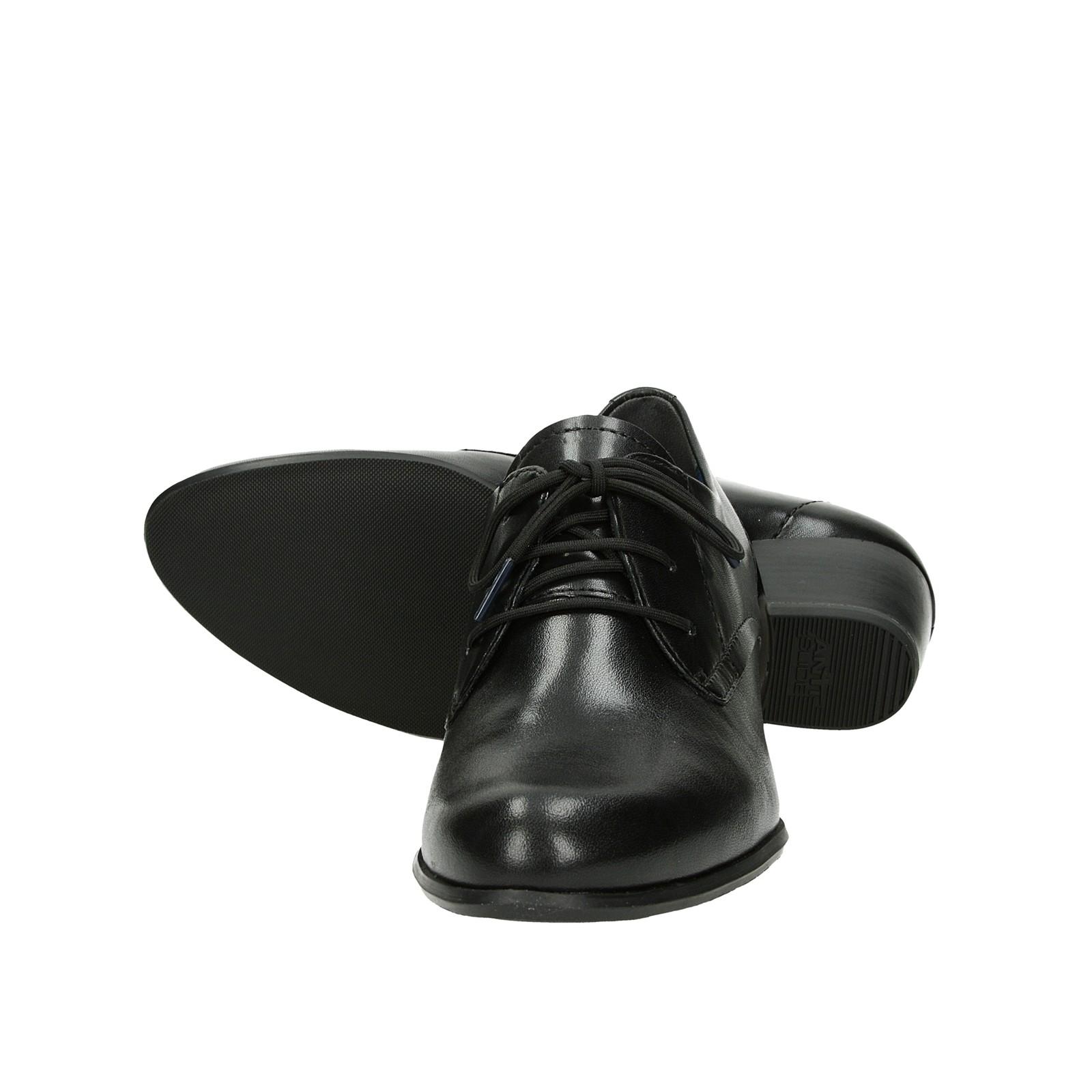 Tamaris dámske kožené poltopánky na podpätku - čierne