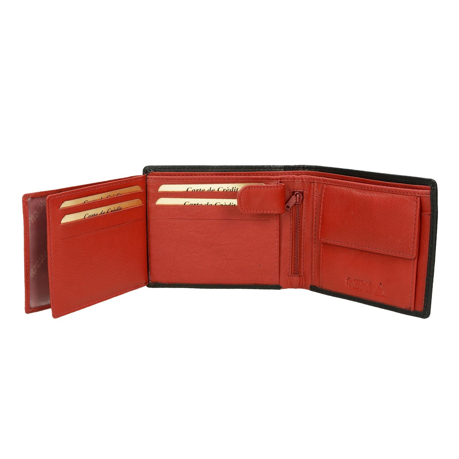 20c0de1336 ... Mercucio pánska kožená peňaženka - čiernočervená ...