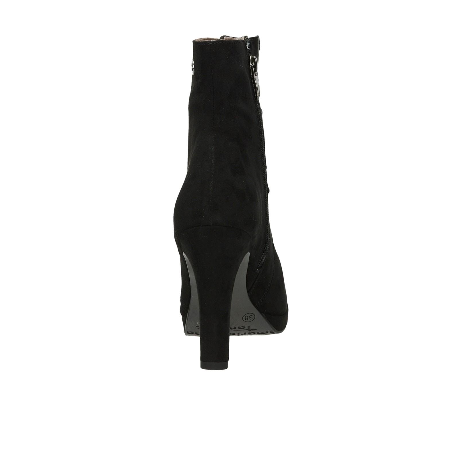 Tamaris dámske kotníky na vysokom podpätku - čierne