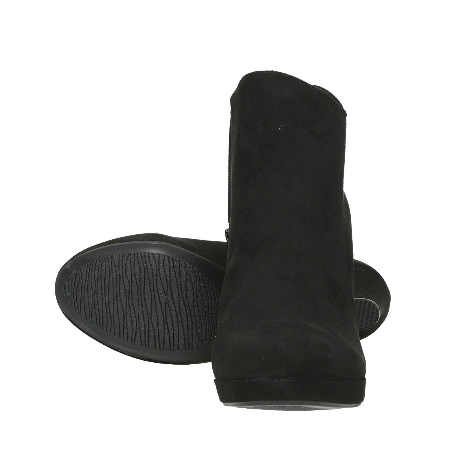 Jane Klain dámske textilné kotníky na vysokom podpätku - čierne ... da9a35ed7c9