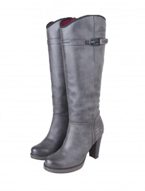 8ed570d54 s.oliver dámske vysoké čižmy - šedé | 2550525-GRAFITE www.robel.sk