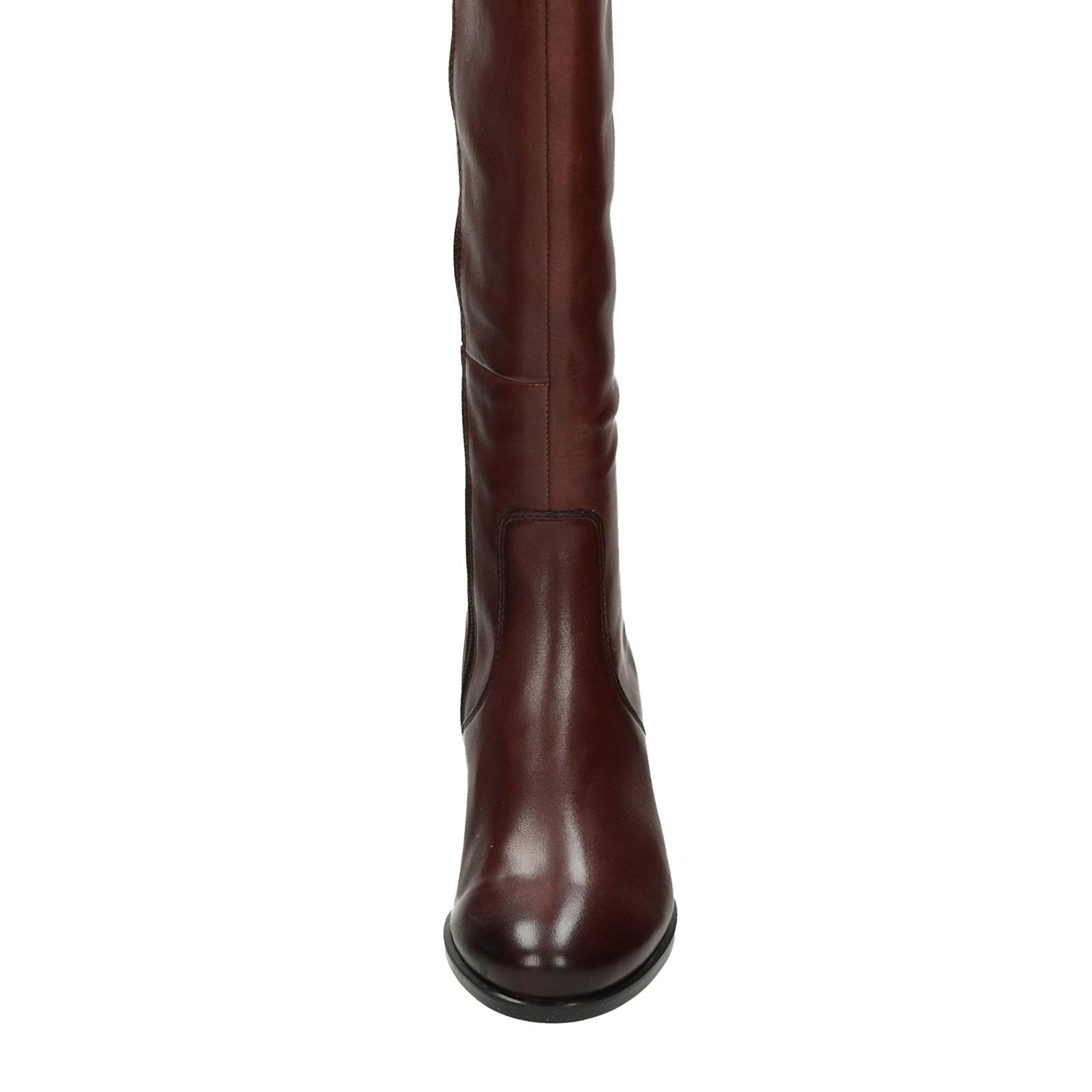 8342d68d0913 Caprice dámske kožené vysoké čižmy - bordové ...