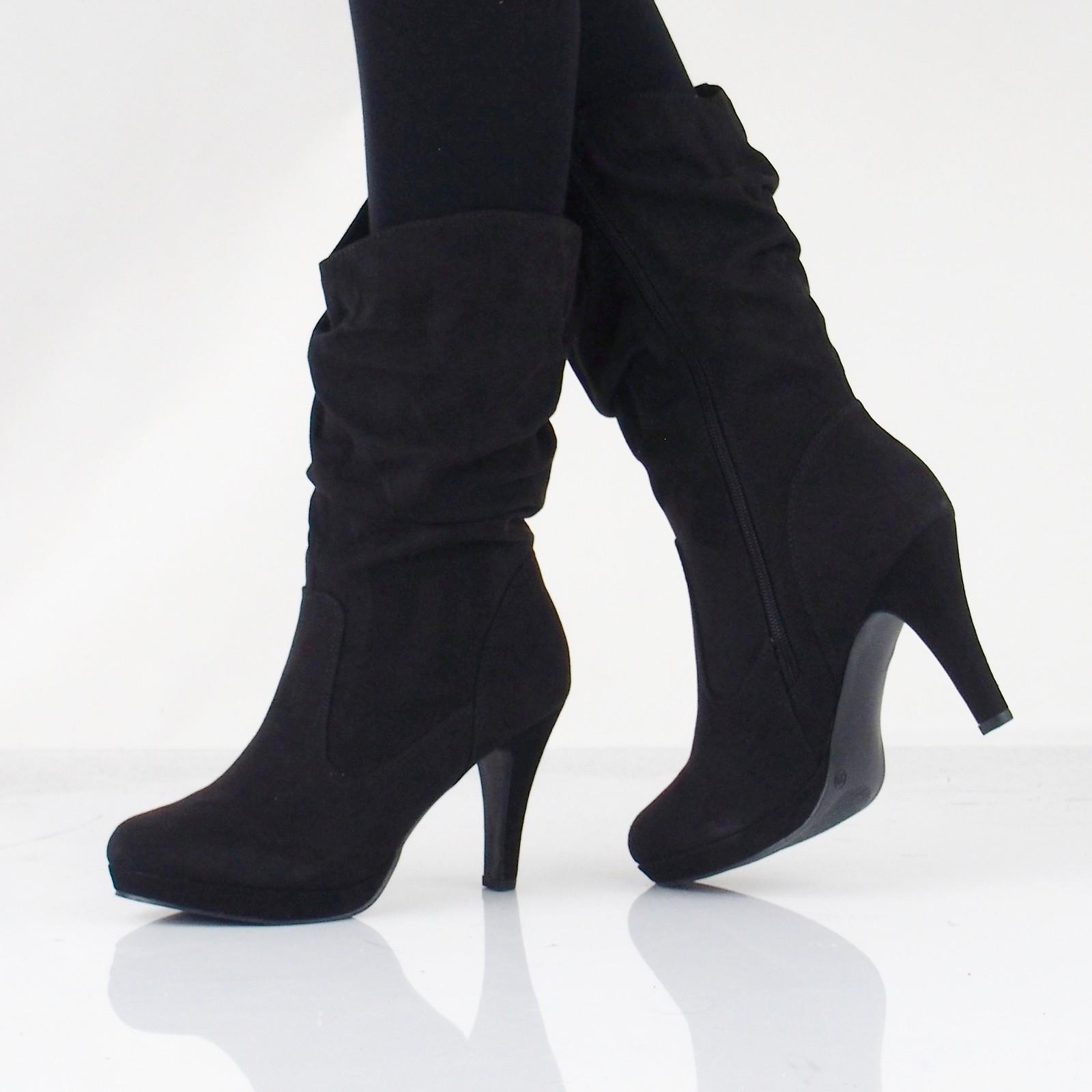 72d909c07082 Jane Klain dámske textilné čižmy na vysokom podpätku - čierne ...