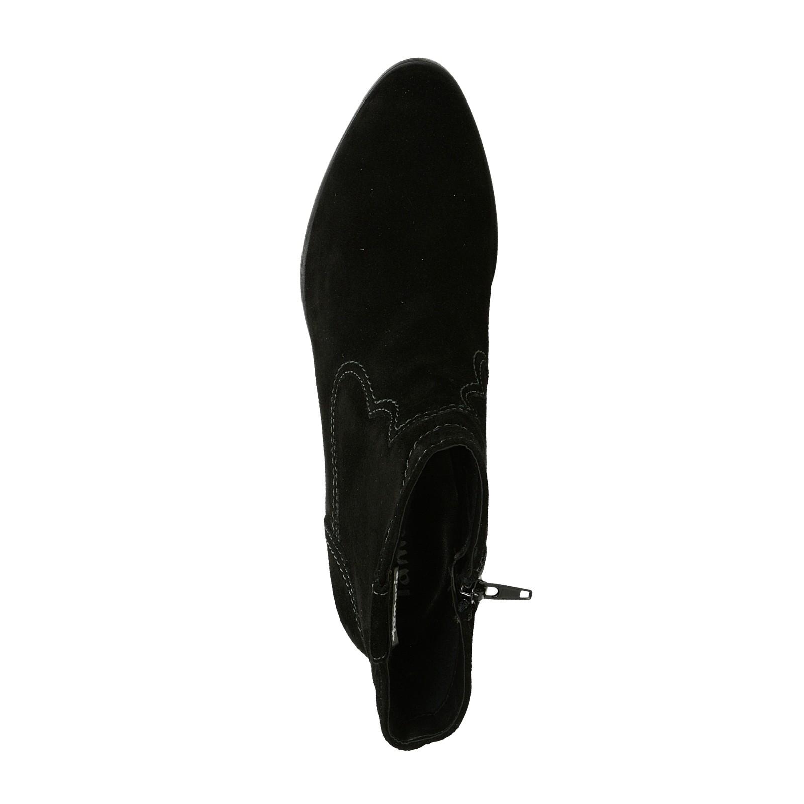 Tamaris dámske semišové kotníky - čierne