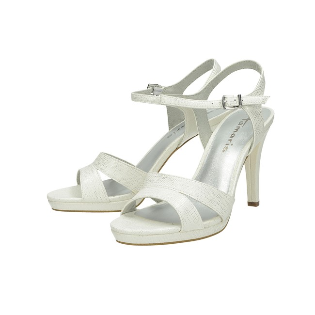 66bbfd611e8 ... Tamaris dámske elegantné sandále na podpätku - biele ...