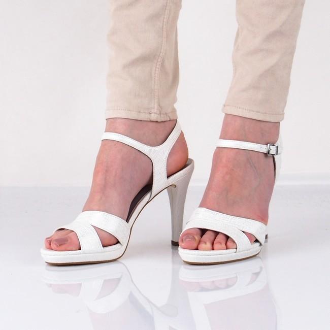 a8848655d7a4 Tamaris dámske elegantné sandále na podpätku - biele ...
