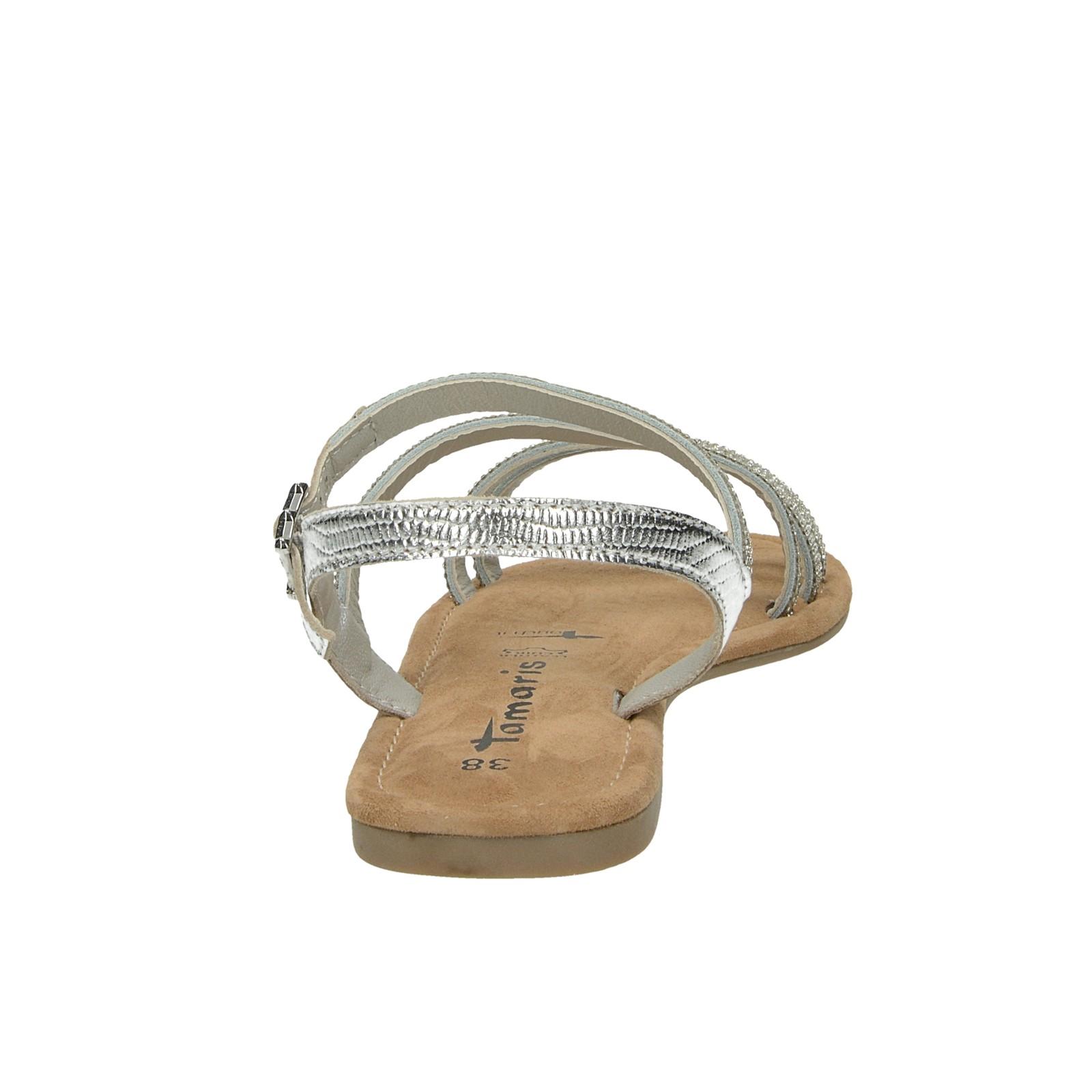 26a4e2d4a2ad ... Tamaris dámske elegantné sandále s ozdobnými kamienkami - strieborné ...