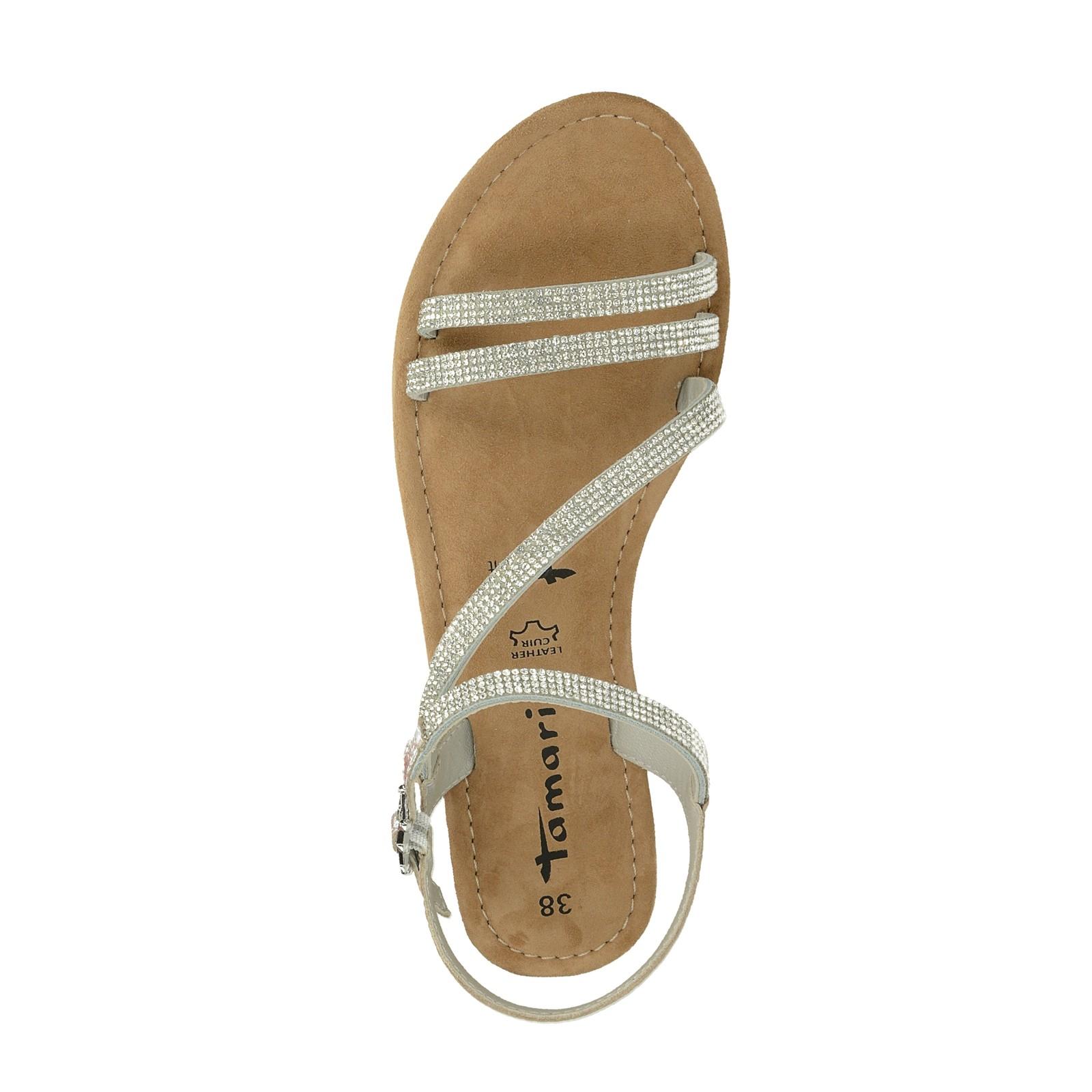 1f526cc87c73 Tamaris dámske elegantné sandále s ozdobnými kamienkami - strieborné ...