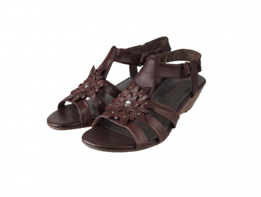 27f9d071f463 Tamaris dámske kožené sandále - hnedé ...