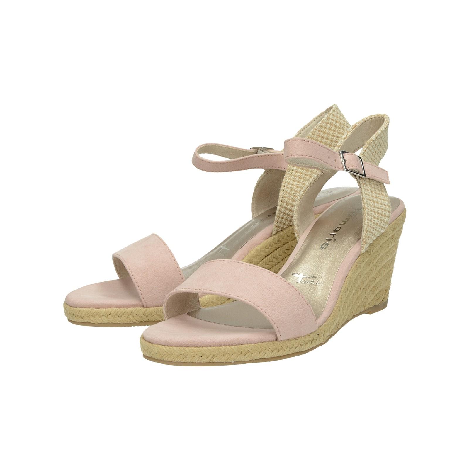 a86160f4d5590 Tamaris dámske štýlové sandále na klinovej podrážke - ružové ...