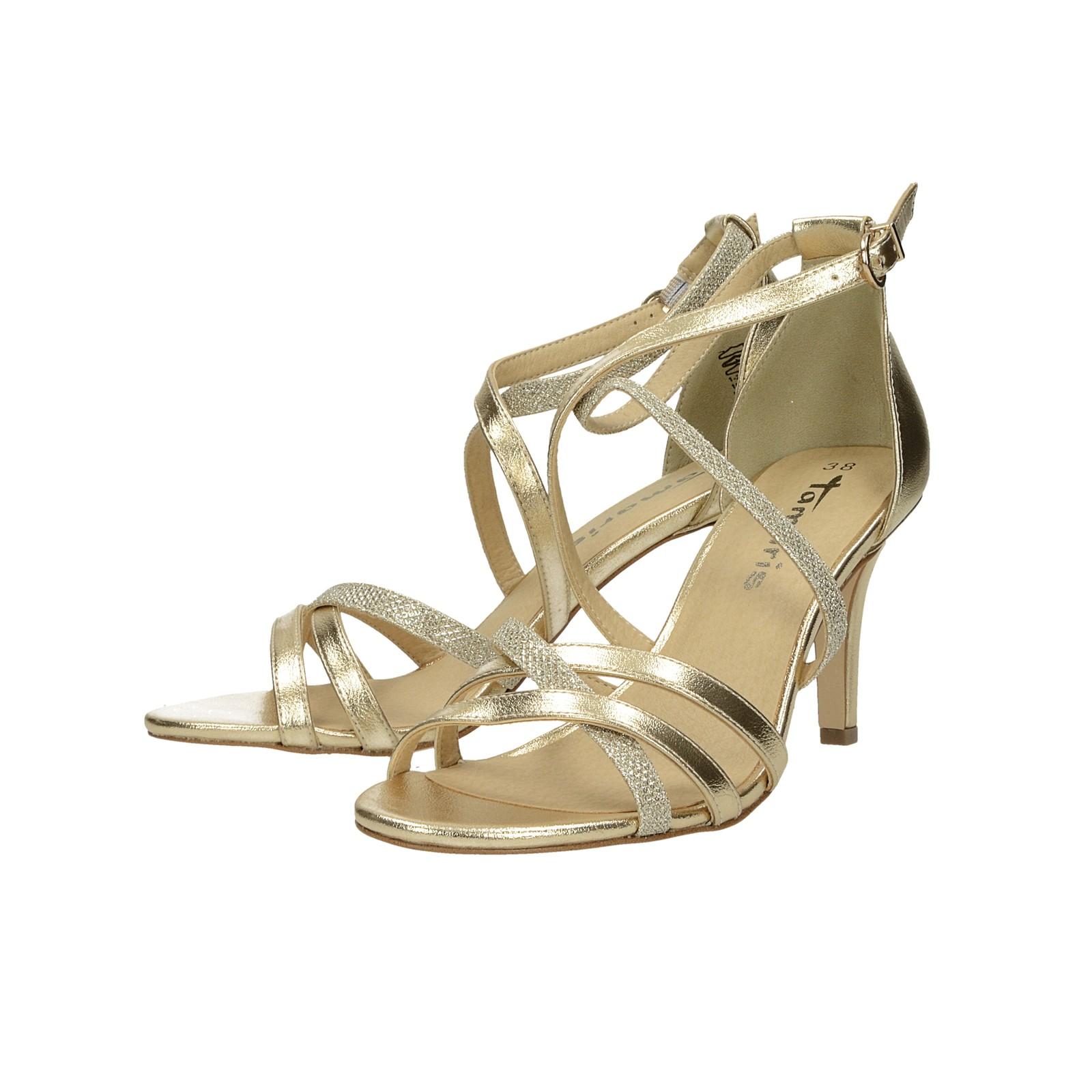 d1806b5b4c3f ... Tamaris dámske spoločenské sandále na podpätku - zlaté ...