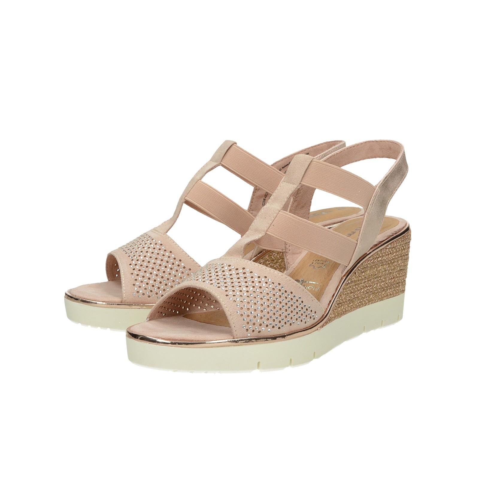 41ebdd7544bd Tamaris dámske pohodlné sandále na klinovej podrážke - ružové ...