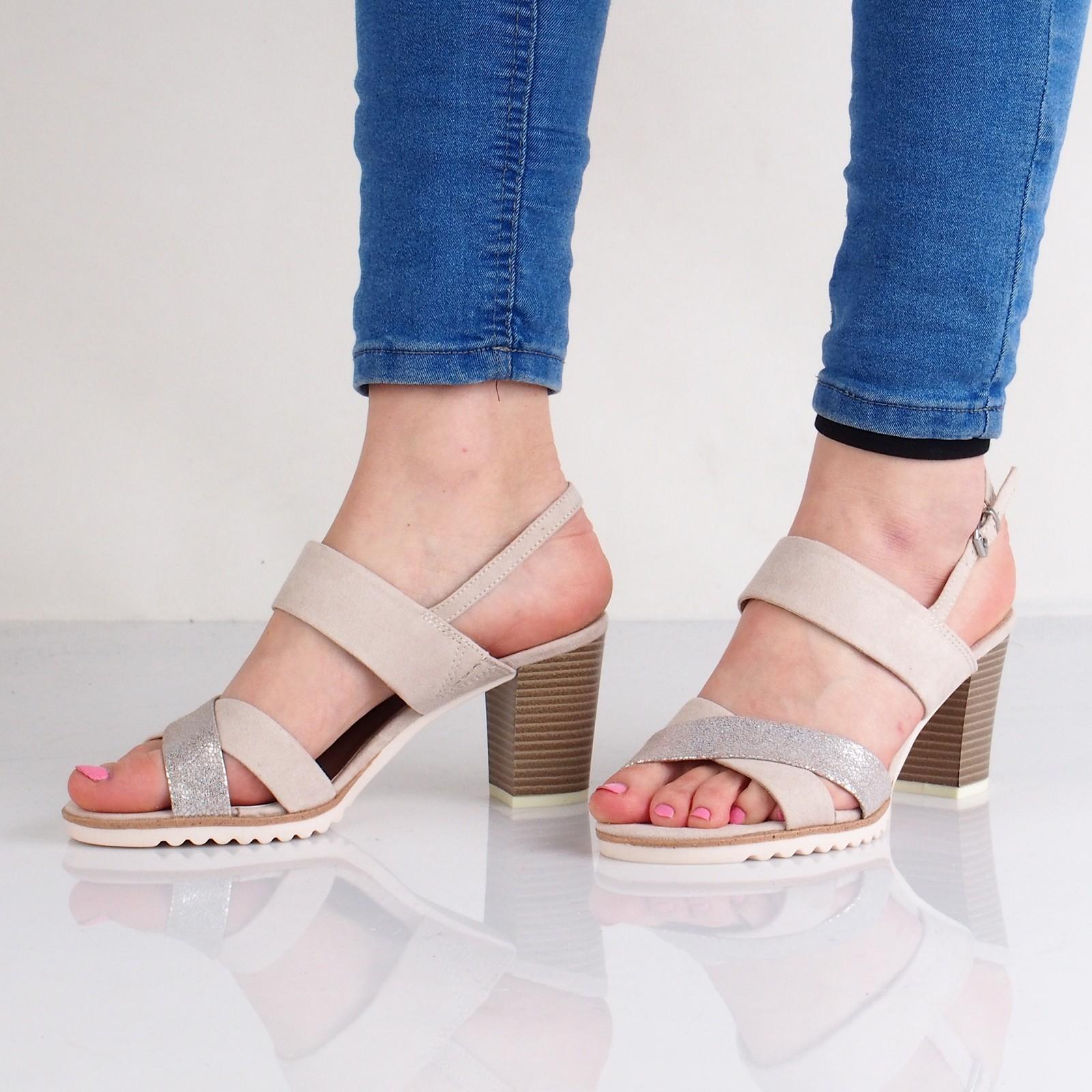 f5dc7609dc Marco Tozzi dámske sandále na podpätku - béžové ...