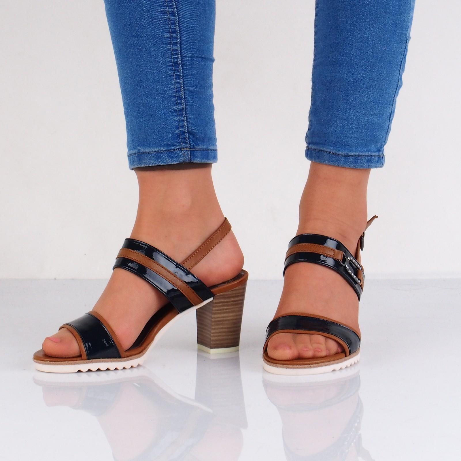 0beab05456 Marco Tozzi dámske štýlové sandále s remienkom - modrohnedé ...