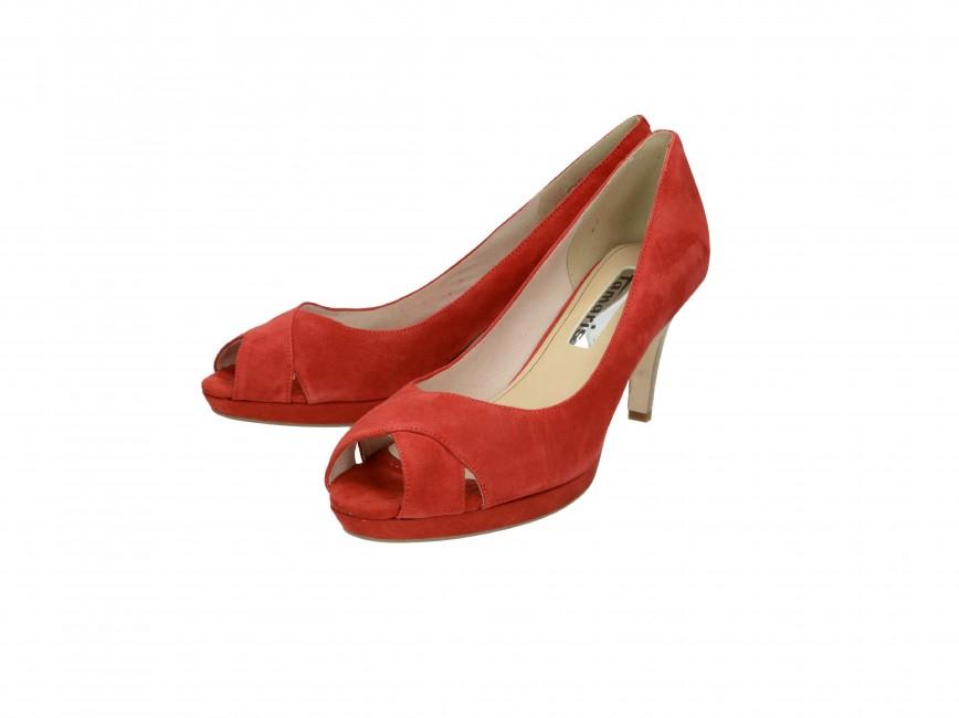 607183f53a5 ... Tamaris dámske kožené lodičky - červené ...